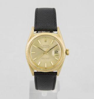 Rolex Datejust 750 Gold Mit Lederband Ref.  1601 Cal.  1570 Von 1967 Bild