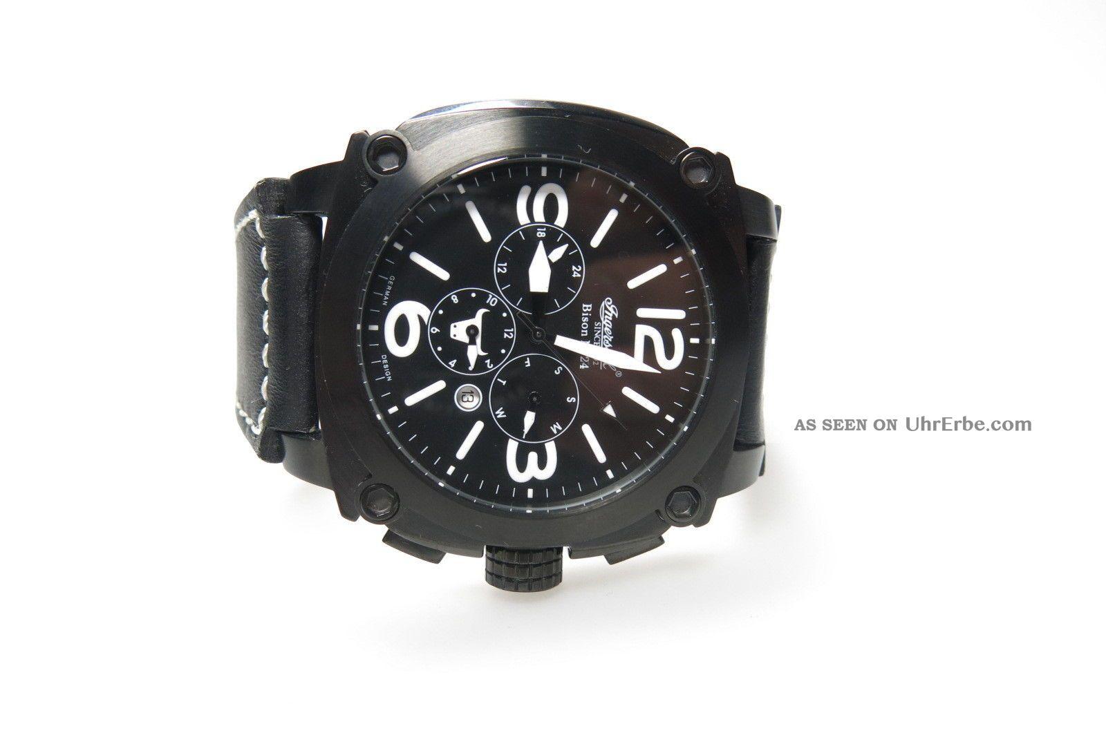 Ingersoll Bison No.  24 In 4103 Bbkw Schwarze Herrenuhr Kautschuckband Automatik Armbanduhren Bild
