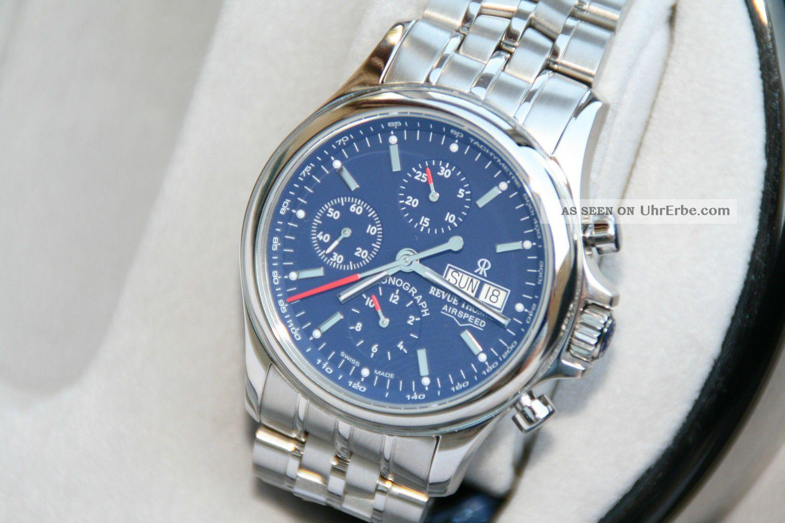 Revue Thommen Airspeed Heritage Valjoux 7750 Blaues Ziffernblatt Eta Werk 1 Armbanduhren Bild