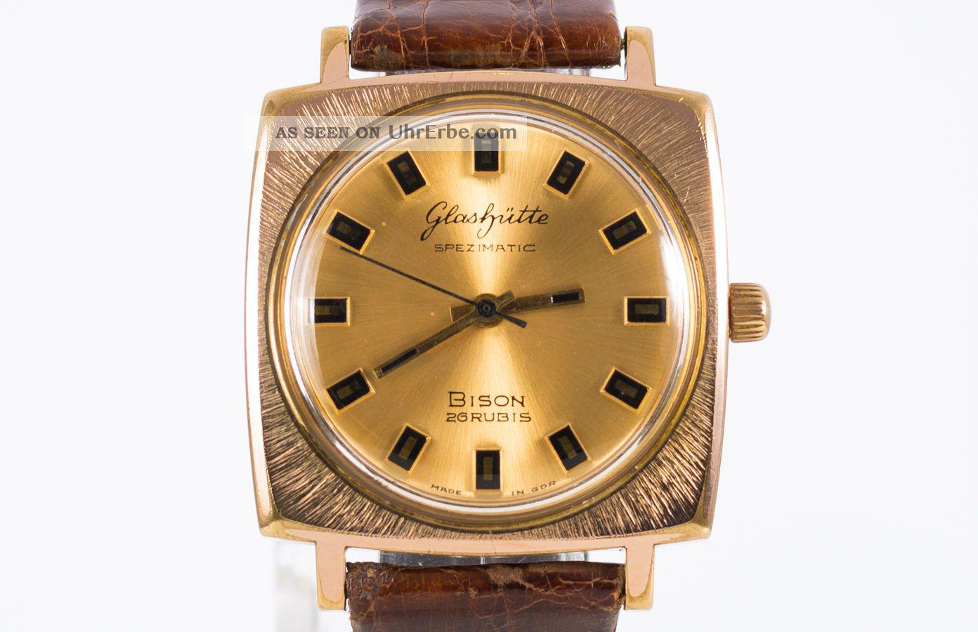 Glashütte Automatic Bison Vergoldete Deutscher Herren Armbanduhr Cal.  74 70 ' Er Armbanduhren Bild