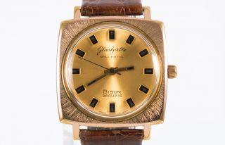 Glashütte Automatic Bison Vergoldete Deutscher Herren Armbanduhr Cal.  74 70 ' Er Bild