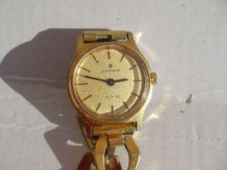 Junghans Quarz Vergoldet Damenuhr Vom Uhrmacher Geprüft Mit Neuer Batterie Bild