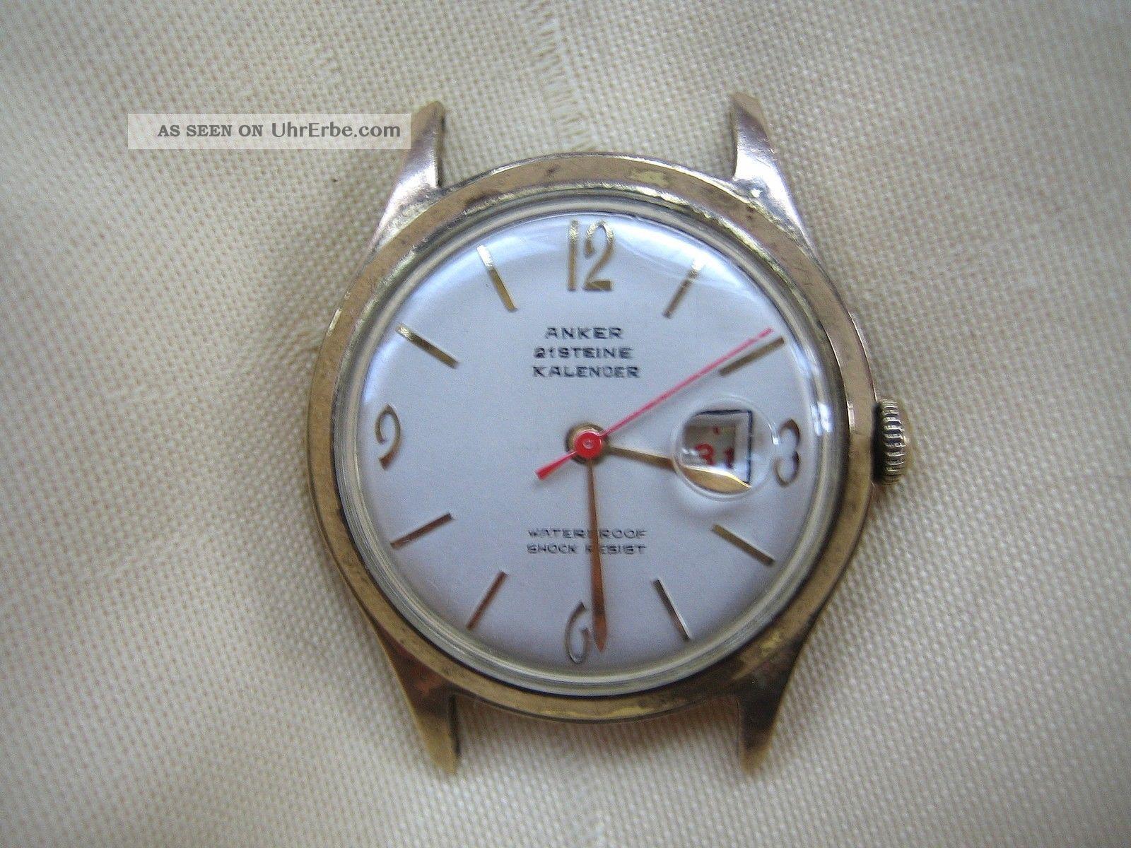 Vintage Watch Anker Kalender 21 Jewels Lupenglas Mechanisch Handaufzug Armbanduhren Bild