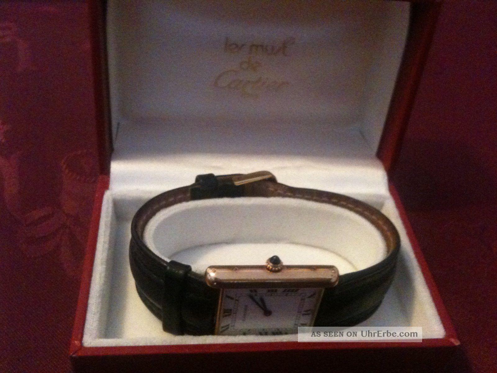 Herrenarmbanduhr Cartier Paris Tank Automatic Gold Armbanduhren Bild