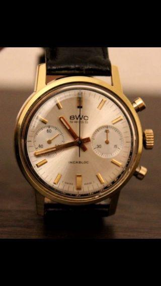 Bwc Uhr Landeron 248 Chronograph Swiss Vintage Watch Herrenuhr Tachymeter Bild