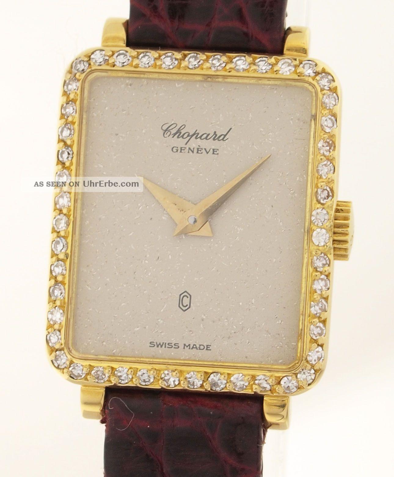 Chopard Geneve Damen Armbanduhr - In 18ct Gold Mit 48 Diamanten - Alter: 1980er Armbanduhren Bild