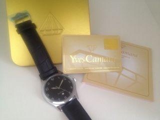 Yves Camani Allier Armbanduhr Lederarmband Uhr Schwarz Silber Mit Datum Bild