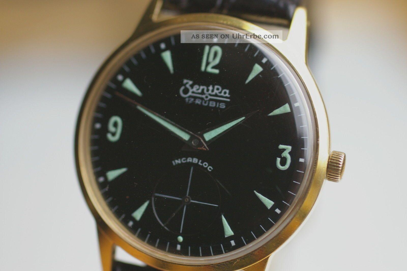 Zentra Armbanduhr Schwarzes Zifferblatt Kaliber As 1560 1960er Jahre Top Armbanduhren Bild