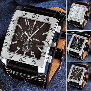 Hot Quarz Armbanduhr Mit Water Resistant Herren Rechteck Geformt Leder Band Bild