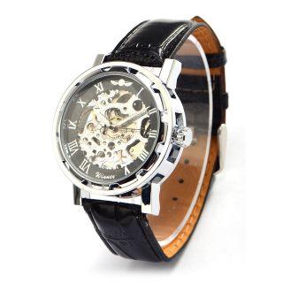 Winner Herrenuhr Edelstahl Skelett Uhr Automatik Uhr Mechanik Leder Armbanduhr Bild