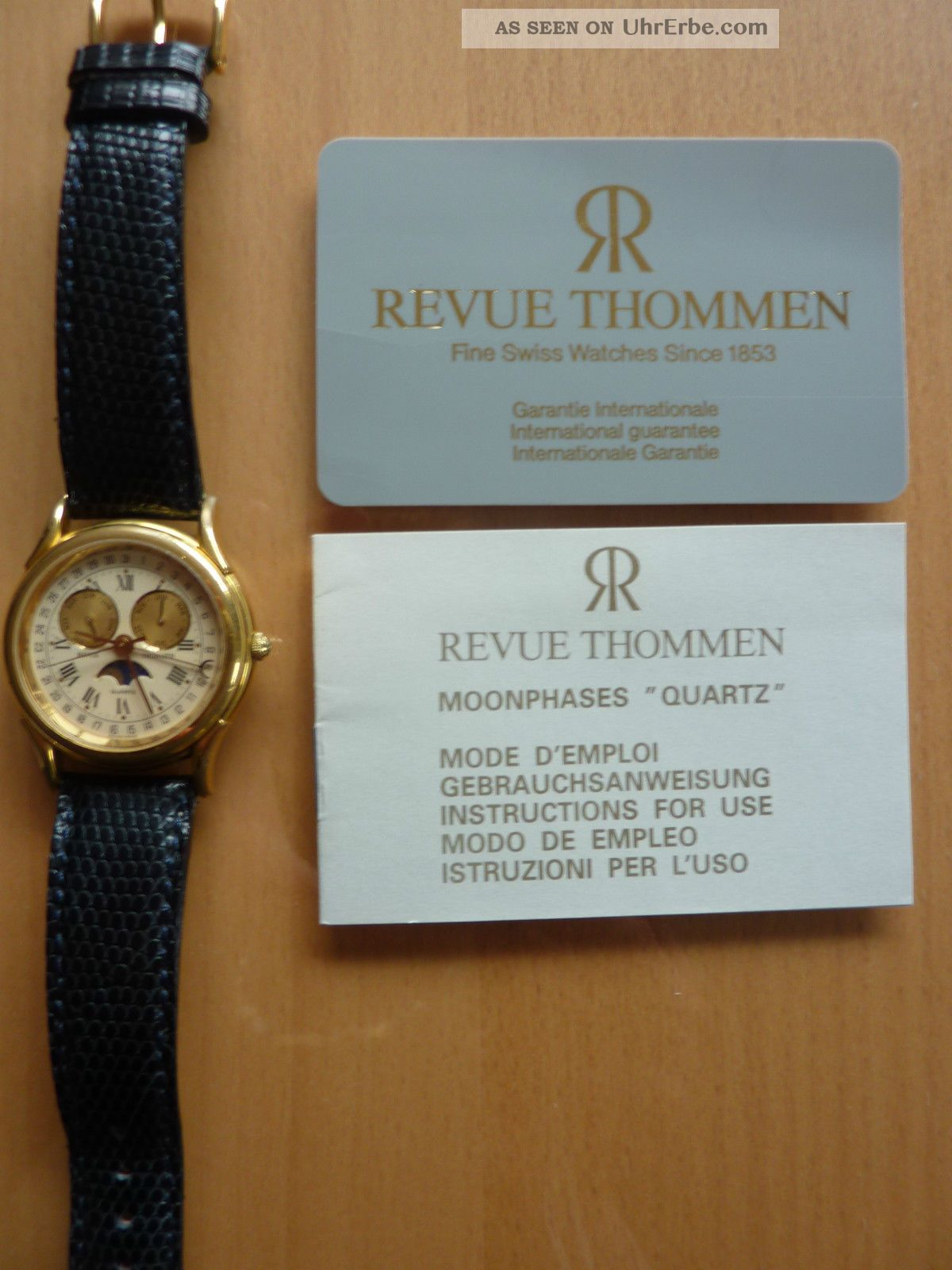 Seltene Revue Thommen Armbanduhr Mondphase Gold Weihnachten Armbanduhren Bild
