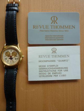 Seltene Revue Thommen Armbanduhr Mondphase Gold Weihnachten Bild