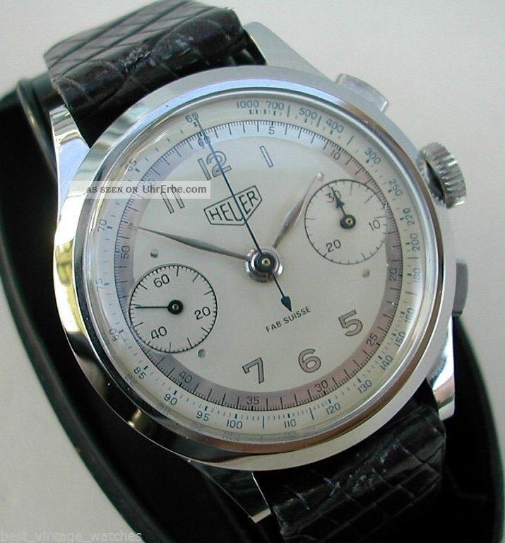 Heuer Chrono Sehr Gut Erhalten,  Klassiker V 1949 Bildschön Und Wertvoll,  37mm Armbanduhren Bild