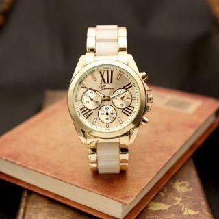 Geneva Herren Damenuhr Edelstahl/gold Uhr Quarzuhr Armbanduhr Chronograph Luxus Bild