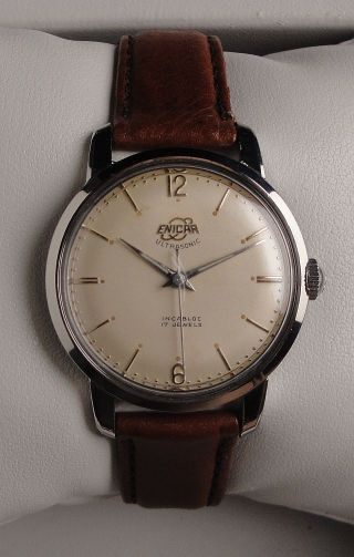 Vintage Armbanduhr Enicar Ultrasonic – Handaufzug – In Edelstahl – Cal.  Ar 1010b Bild