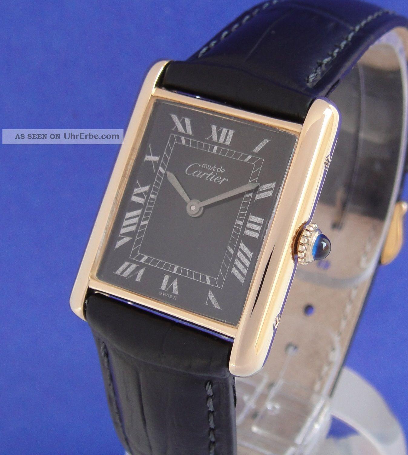 Tolle Cartier Tank Damen Au Silber/vergoldet Top Armbanduhren Bild
