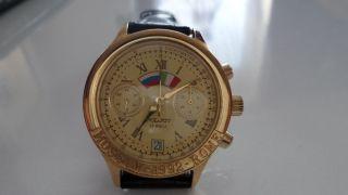 Vintage Poljot Chronograph Moscow 1992 Rome Herren Uhr Handaufzug Cal 3133 Bild