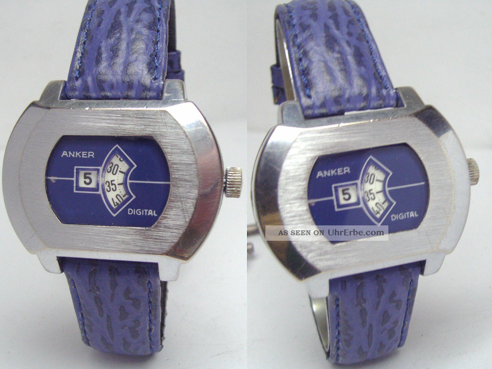 Anker Vintage Digital Scheibenuhr Mit Lederband Armbanduhren Bild