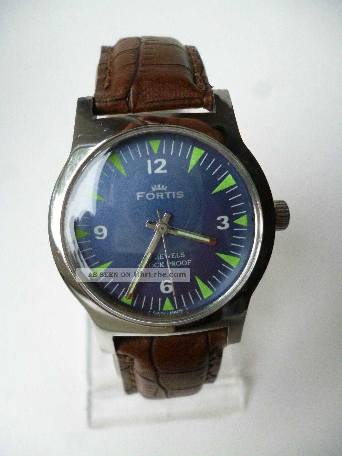 Rare Fortis Blue Eye Military Handaufzug,  Vintage, Armbanduhren Bild