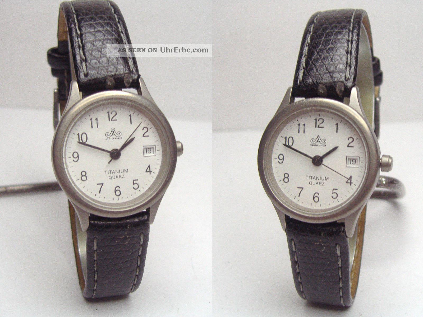 Meister - Anker Titan Damenuhr Mit Datum & Lederband Armbanduhren Bild