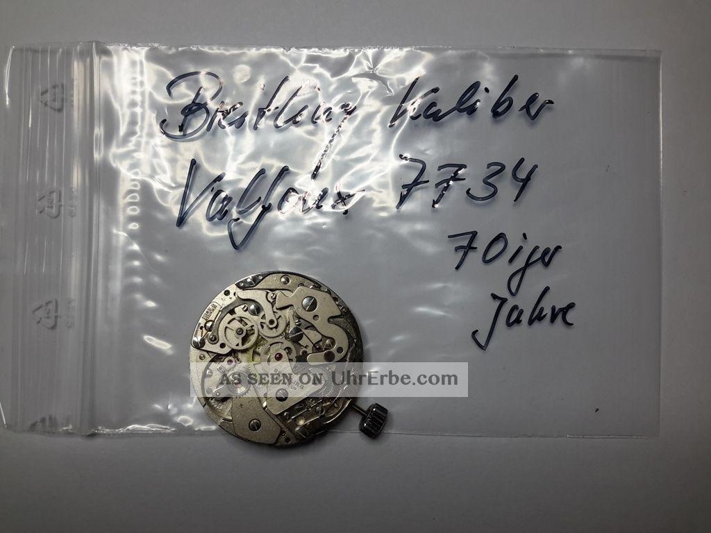 Breitling - - Werk - - Kaliber - - Valjoux 7734 Mit Datumsscheibe 60 Iger Jahre Armbanduhren Bild
