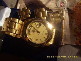Designer Luxus Schweizer Herrenuhr Vergoldet Gold 585 Eden Swiss Made Uhr Ovp Bild