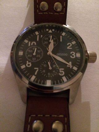 Xxl Uhr Armbanduhr Riesen Zifferblatt 50mm Mit Krone Oozoo Edel Fliegeruhr Bild