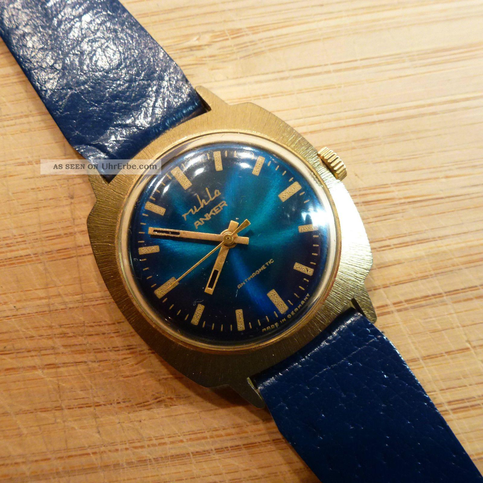Ruhla Anker Herrenuhr Mechanisch Handaufzug Armbanduhr Uhr Sammler Ddr Gdr Armbanduhren Bild