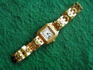 Cartier Lady 18k Gold Panthere Damenuhr Goldband Top Bild