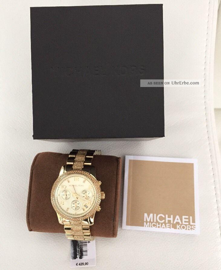 Michael Kors Mk5826 Runway Gold Damenuhr Mit Etikett Und Ovp