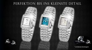 Edle Damenuhr Strassuhr Fame Armbanduhr Silber Stahl Strass Modeuhr Trend Uhr Bild