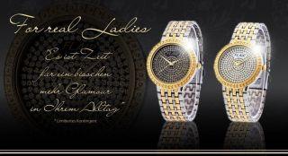 Edle Damenuhr Armbanduhr Gold Silber Bicolor Flair Strass Top Mode Trend Uhr Bild
