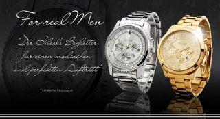 Xxl Herrenuhr,  Chronograph Look,  Silber,  Gold,  Datum,  Design,  Uboot,  Flieger Uhr Bild