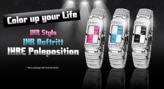 Edle Flair Strass Damenuhr Silber Pink Weiss Blau Schwarz Armbanduhr Design Uhr Bild