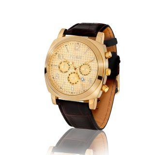 B - Ware,  Top Xxl Herrenuhr,  Chronograph Look,  Leder,  Gold,  Datum,  Design,  U - Boot Bild