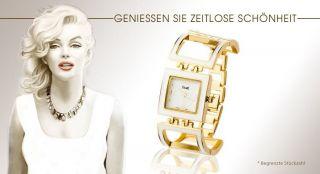 Elegante Fame Damenuhr Gold Weiss Stahl Analog Armbanduhr Mode Top Uhr Bild