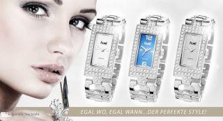 Top Damenuhr Strassuhr Fame Armbanduhr Silber Stahl Strass Modeuhr Trend Uhr Bild