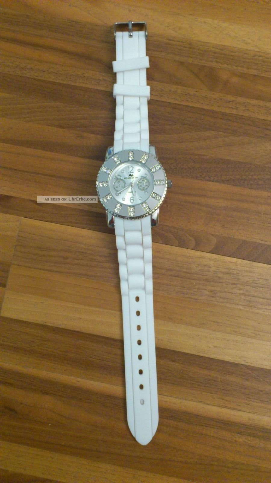 Damen - Uhr Made With Swarovski® Elements,  Weiß,  Silikonarmband,  Ziffernblatt Weiß Armbanduhren Bild