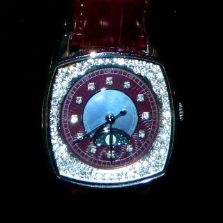 Ivens&söhne Armbanduhr Mondphase Wasserdicht Quartz Strass Leder Weinrot Perlmut Bild