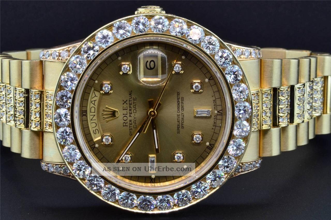rolex date pr sident 18k gold diamant uhr individuelle l nette 39mm. Black Bedroom Furniture Sets. Home Design Ideas