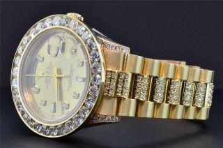 Rolex Date Präsident 18k Gold - Diamant - Uhr Individuelle Lünette 39mm Bild