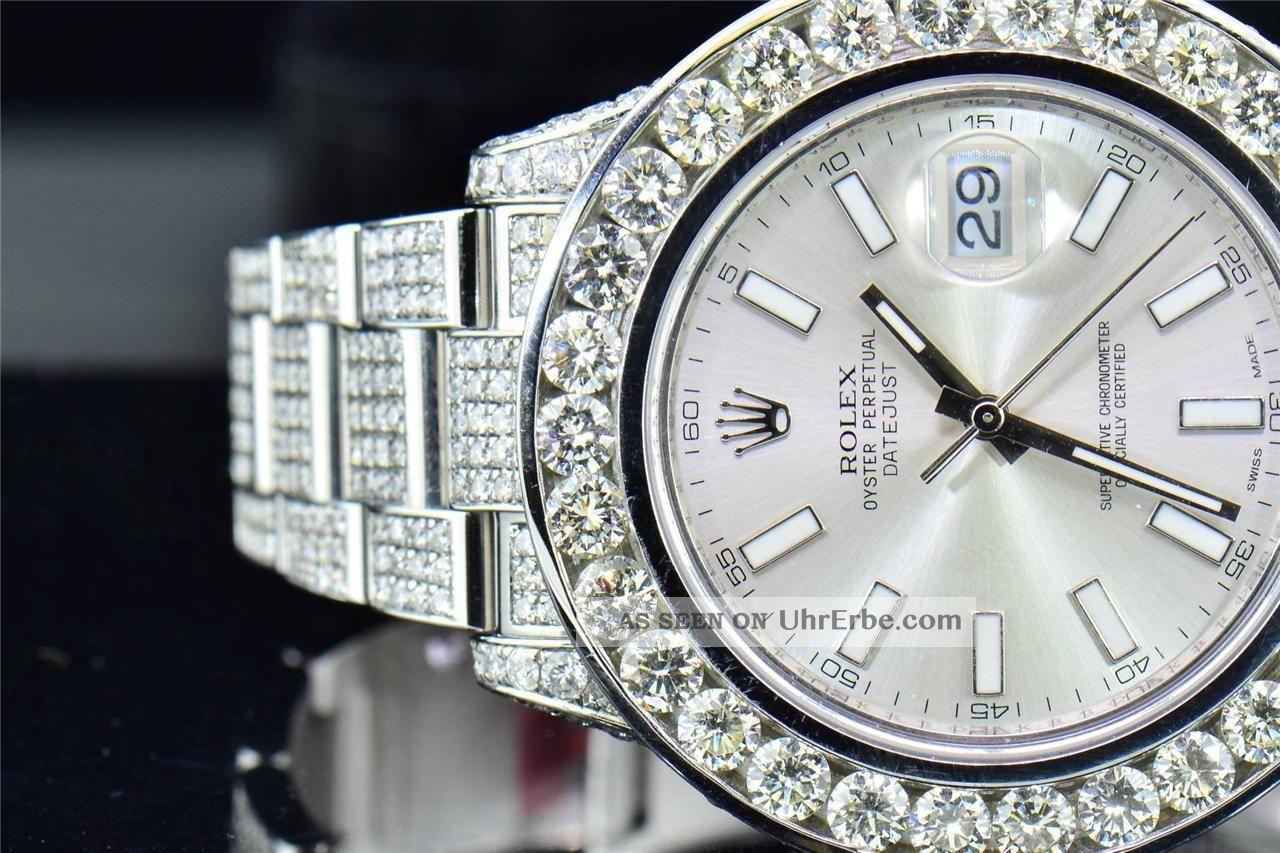 Herren Armbanduhr Rolex Datum Just Ii 2 Iced Out Mit Echten
