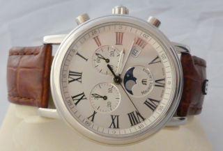 Maurice Lacroix Chronograph Mit Mondphase Und Datum,  Edelstahl Bild
