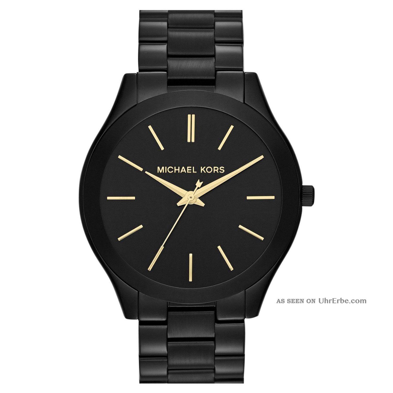 Michael Kors Uhr Mk3221 Slim Runway Schwarz Damen Edelstahl Armbanduhr Analogneu Armbanduhren Bild