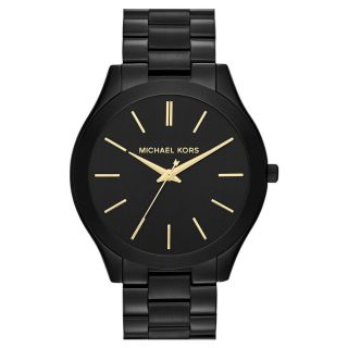 Michael Kors Uhr Mk3221 Slim Runway Schwarz Damen Edelstahl Armbanduhr Analogneu Bild