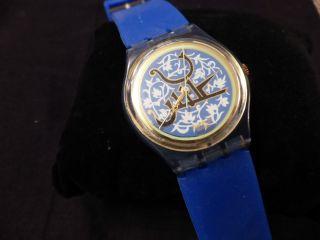 Swatch Damen Uhr Armbanduhr Blau Batterie Bild
