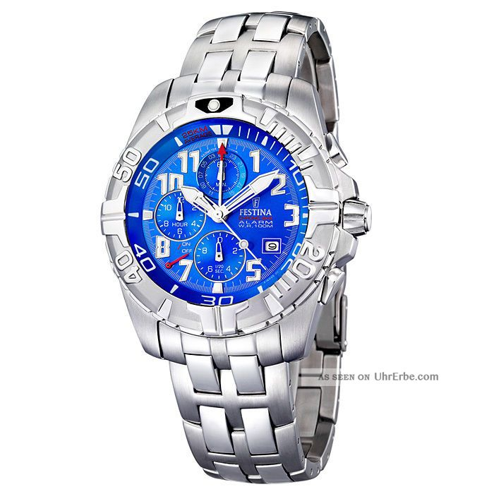 Festina Uhr Herrenuhr Tour - Chrono Alarm F16095 - 1 Blau Aus Nachlass Armbanduhren Bild