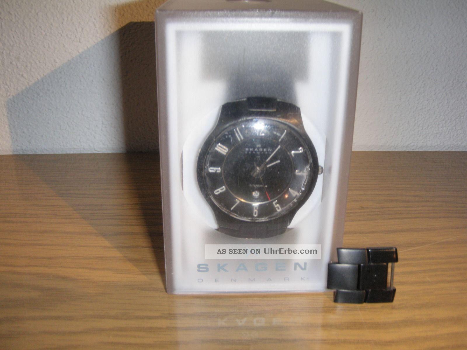 Armbanduhr Skagen Schwarz Titan Herren Ziffernblatt 572 Xltmxb - Gebrauchsspuren Armbanduhren Bild