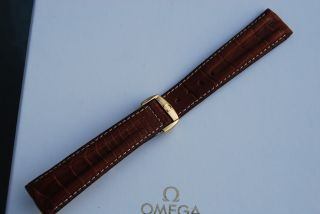 Omega 20mm Faltschließe 18kt/750er Gold Krokodil Armband/bracelet 2 Bild