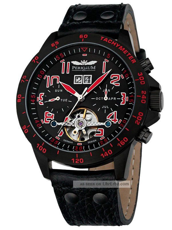 Perigaum Herren Uhr Automatik Leder Armband Chronograph P - 1105 - Ib - Sr - Le Armbanduhren Bild